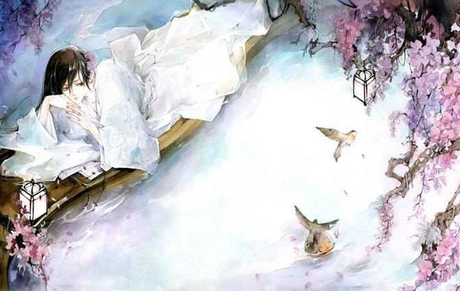 唯美古风水墨背景画 水墨古风背景有花 手绘古风水墨唯美插画